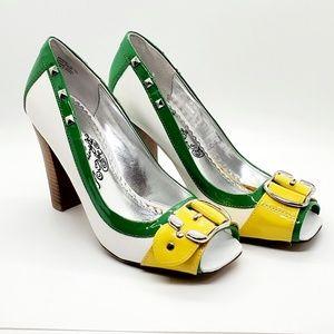 Naughty Monkey•sz.7•yellow buckle•studs•heels